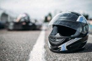 helmet on karting circuit