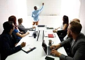 team brainstorming on meeting